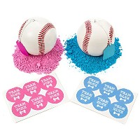 パーティーFavors 2つGender Reveal Baseballs | Includes 6チームBoy & 6チームGirlステッカー。