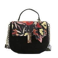 ゲス バッグ ショルダーバッグ GUESS MCKENNA FL678918 TOP HANDLE FLAP BKF BLACK FLORAL FL FLORAL PRINTED NEW GRAIN...
