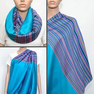 Turquoise Nursing Cover with Colorful Striped Pattern, Nursing Cover Scarf, Breastfeeding Cover,...