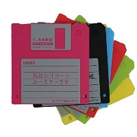 PHT Set of 6 Retro Floppy Disk Silicone Drink Coaster 3テつス-inch 1.44M Diskette Novelty Design Non...