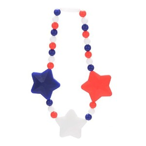 Nummy Beads Red, White & Blue Stars Baby Carrier Teether Teething Accessory Toy by Nummy Beads