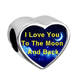 q &ロケットハートI Love You To The Moon And BackチャームNight Skyビーズのブレスレット