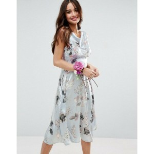 エイソス レディース ワンピース トップス ASOS WEDDING 40s Seamed Satin Midi Dress in Silver Rose Print Multi