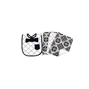 Trend Lab Baby Bib And Burp Cloth Set Black And White by Trend Lab
