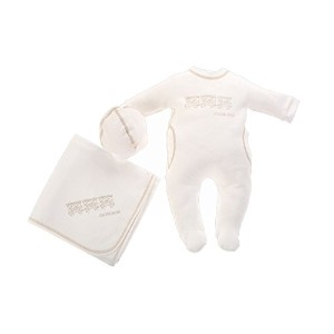 Cream Bebe Cotton Baby Layette Set Applique Design - Footie, Hat and Blanket (camel) by Cream Bebe