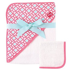 Hudson Baby Print Woven Hooded Towel and Washcloth, Lattice by Hudson Baby