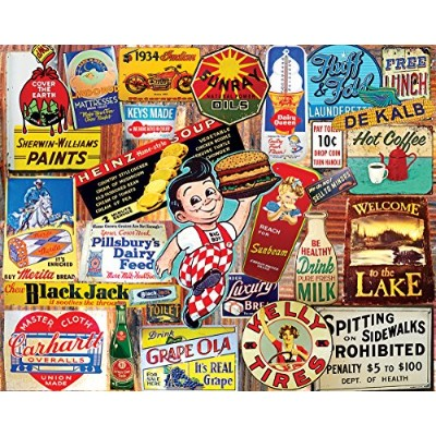 White Mountain Puzzles Vintage Signs Jigsaw Puzzle (1000 Piece) New
