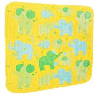 Breganwood Organics Baby & Toddler Hooded Towel, Yellow with Green & Blue Elephants in Velour Terry...