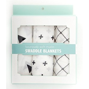 Unisex muslin swaddle blankets for babies (3 pack, 47 x 47) by Mooiste
