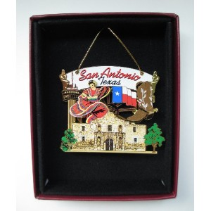 San Antonio Christmas ORNAMENT Texas City State Souvenir Gift The Alamo Texas State Flag by Nations...