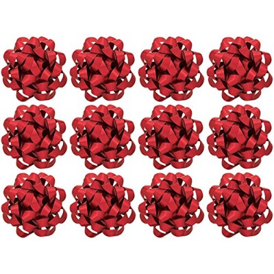 The Gift Wrap Company 12 Count Decorative Matte Bows, Large, Red by The Gift Wrap Company