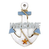 "13.2 "" x9.2 ""木製マリンアンカー壁Hanging Ornament Welcome Sign Plaque"