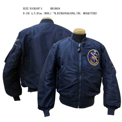 """BUZZ RICKSON'SバズリクソンズB-15C A.F.Blue(MOD.) """"B.RICKSON&SONS,INC. MOSQUITOES2016年生産BR13619-16AWフライトジャケッ..."""