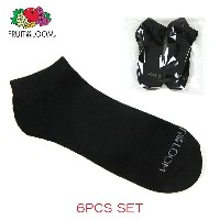 フルーツオブザルーム FRUIT OF THE LOOM 靴下 MEN'S 6PK LOW CUT SOCKS Size.6-12 BLACK