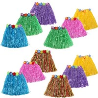 kilofly 12pc女の子伸縮性ハワイアンDancer Grass Hula Skirts Luau Party Favors