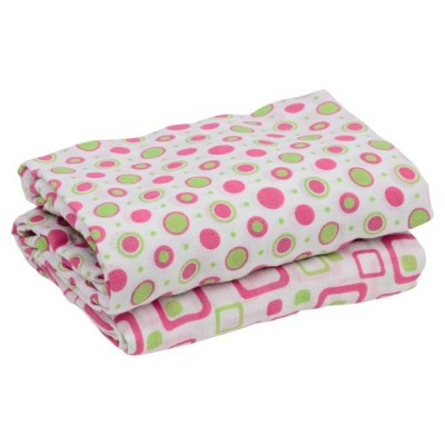 juDanzy 100% Cotton Muslin Swaddle Blankets Set of 2 Large 45X45 Baby Girl or Boy (Hot Pink & Lime)...