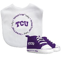 TCU Baby Fanatic Bib with Pre-Walkers, NCAA Texas Christian Horned Frogs Infant Shoe Gift Set by...