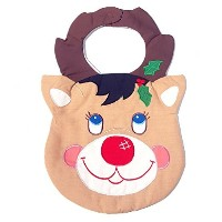 Quilted Christmas Baby Bib ~ Reindeer by Kubla Crafts