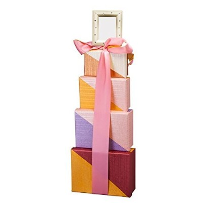 OhMyBasket Rectangular Girls Baby Shower Gift Tower, Great for New Mom and Baby. by Oh My Basket