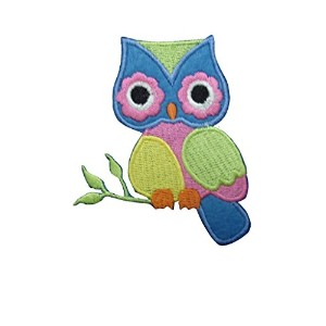 2 pieces OWL Iron On Patch Fabric Applique Bird Animal Motif Cartoon Decal 2.8 x 2.4 inches (7 x 6...