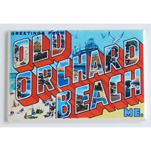 Greetings from Old Orchard Beach Maine冷蔵庫マグネット( 2.5X 3.5インチ)