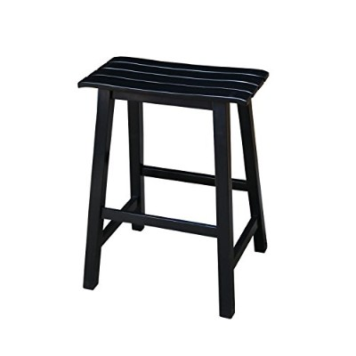 International Concepts Slat Seat Stool, 24-Inch Seat Height, Black by International Concepts