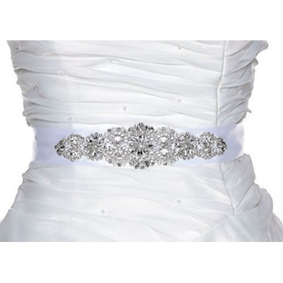 White Crystal Bridal Sash - Wedding Dress Sash Belt - White Rhinestone Crystal Wedding Sash - White...