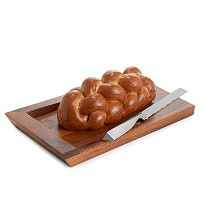 Nambe Geo Wood and合金チャラーBread Board withナイフ