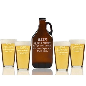 Beer Is Not A Matter of Life and DeathビールAmber Growler and Pint Glasses ( Set of 5)