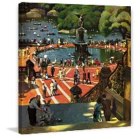 """Marmont Hill vintage-americana ' Boating in Central Park 'キャンバス壁アート 18"""" x 18"""" ブラック MH-RETR-249-C-18"""