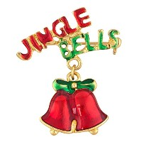 LovelyJewelryクリスマスクリスマス教会Jingle BellピンブローチレッドDangly
