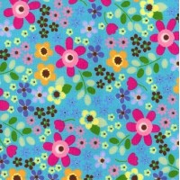 Retro Blue Flowers Cotton Craft Fabric - Fat Quarter (50cm x 55cm)