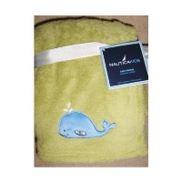 Nautica Kids Baby Soft Plush Blanket Green with Whale Applique by Nautica