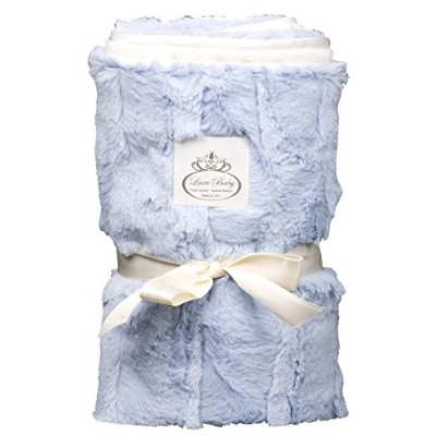 LUXE BABY Cloud Faux Fur Stroller Blanket, Blue by Luxe Baby