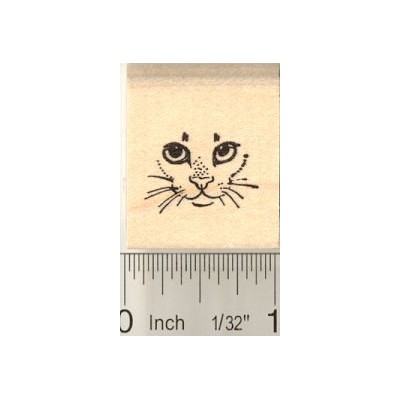 Tiny Cat Face Rubber Stamp