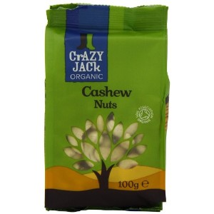 Crazy Jack Organic Whole Cashew Nuts 100 g (Pack of 10)