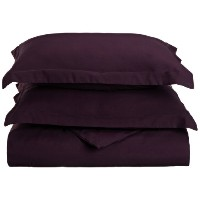 1500 Series 100% Brushed Microfiber 3-piece Full/Queen Duvet Cover Set Solid, Plum - Super Soft and...