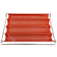 YiloveシリコンBaking Molds、ノンスティック、Perforated Baguette Mold レッド