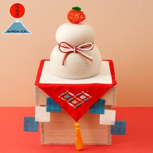 日本市 正月 水引橙の鏡餅飾り Nippon-ichi Wood carving of Kagami Mochi ornament