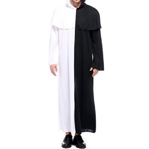 Zhhlinyuan ハロウィン Mens Unisex Cosplay Halloween Costumes Black And White Gown Stage Party Performance...