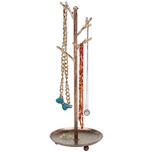 (brass) - MyGift Jewellery Tree Organiser, 10 Hooks Necklace Rack Stand w/ Ring Dish Tray, Brass