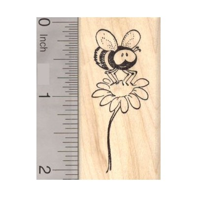 Cute Bee on Flower Rubber Stamp