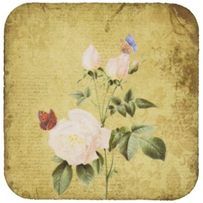 3dRose cst991622 Vintage White Roses and Butterflies ArtSoft Coasters, Set of 8
