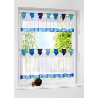 Uphome 1pcs Cute Stitching Color White Cafe Window Tier Curtain - Kitchen Tab Top Semi Sheer...