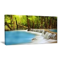 "DesignArt 4パネル"" Huai Mae Kamin waterfall Photography」キャンバスアートプリント 40x20"" ブルー PT6445-40-20"