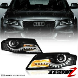 アウディ ヘッドライト 2009-2012 Audi A4 S4 B8 [EURO SPEC CONVERSION] Black LED DRL Projector Headlight 2009...