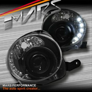 フィアット ヘッドライト Black LED DRL Day-Time Dual Beam Projector Head Lights for Fiat 500 500C 08-13 ブラックLED...
