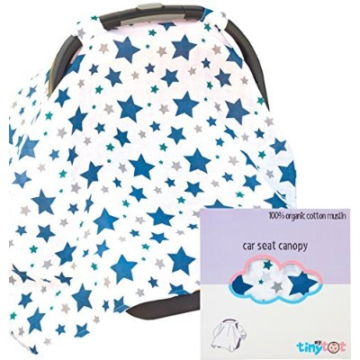 Car Seat Cover - 100% Organic Cotton - Canopy Style Cover Easily Attaches to Car Seat to Protect...