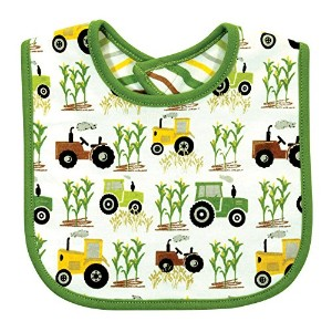 Stephan Baby Reversible Cotton Knit Down on the Farm Tractor Bib, Green/White/Yellow, 0-12 Months...