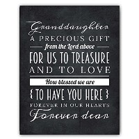 Adorable Grandchild Granddaughter Gift from Grandparents, Granddaughter Quote Chalkboard Nursery...
